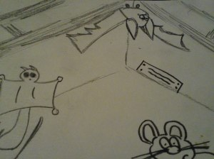 Hand-drawn attic scene
